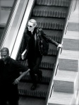 Evan Rachel Wood going down the escalator